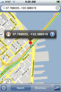 A Zhiing map shows your location using coordinates--and a much more user-friendly pushpin.