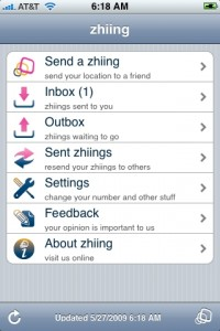 Zhiing's main menu on my iPhone